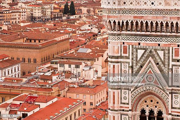 giotto's bell tower in the city of florence. - bell tower tower stock pictures, royalty-free photos & images