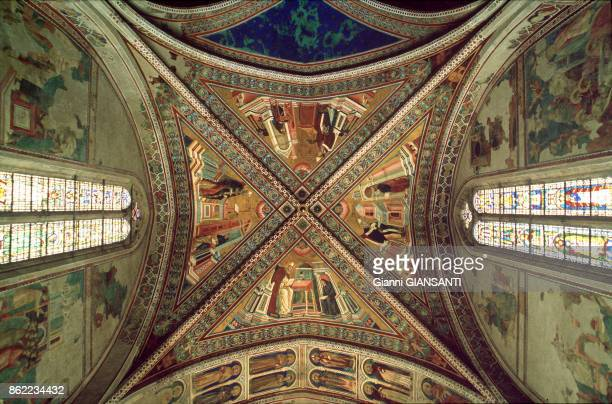 Giotto's fresco in the Basilica Superiore in Assisi August 1986 Italy