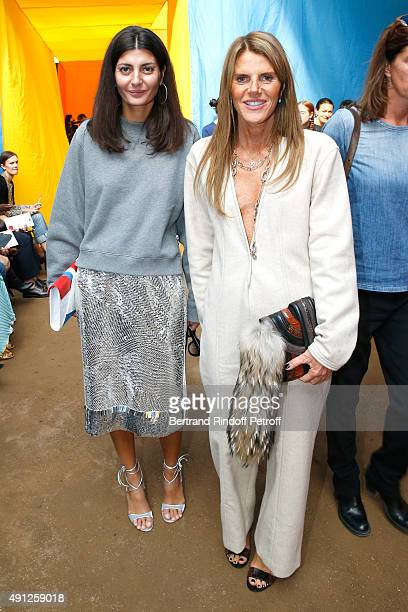 Giovana Battaglia and Anna Dello Russo attend the Celine show as part of the Paris Fashion Week Womenswear Spring/Summer 2016 on October 4 2015 in...