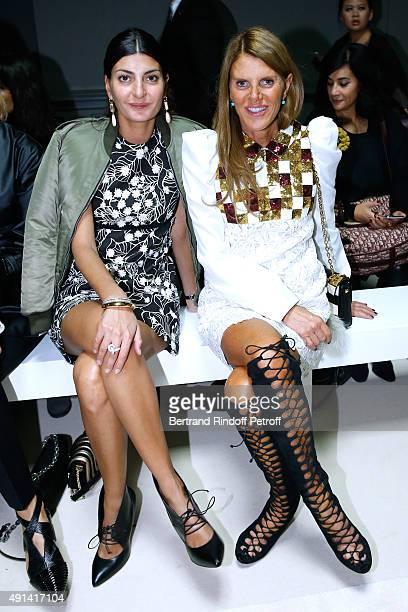 Giovana Battaglia and Anna Dello Russo attend the Giambattista Valli show as part of the Paris Fashion Week Womenswear Spring/Summer 2016 Held at...