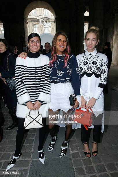 Giovana Battaglia, Journalist Anna Dello Russo and Sabine Getty attend the Christian Dior show as part of the Paris Fashion Week Womenswear...