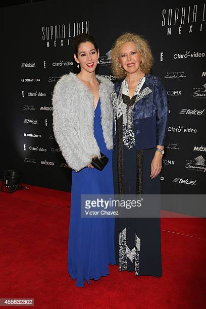Giovana Hacha and Mercedes Aleman attend the Sophia Loren's 80th birthday dinner at Museo Soumaya on September 20 2014 in Mexico City Mexico