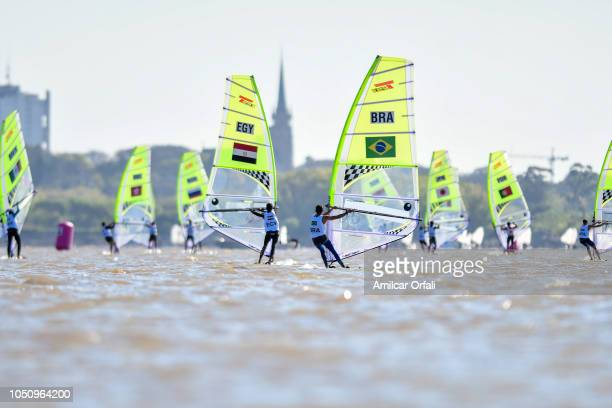 Giovana Prada of Brazil and Salma Wael Ibrahim compete in Women's Windsurf techno 293 during day 1 of Buenos Aires 2018 Youth Olympic Games at Club...