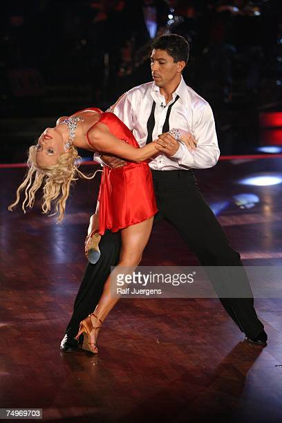 Giovane Elber and Isabel Edvadsson perform at the dancing competition show 'Let's Dance' on TV station RTL with German celebrities and professional...