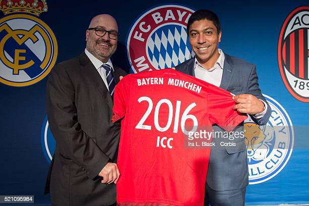 Giovane Elber of FC Bayern Munchen and Charlie Stillitano Chairman of Relevent Sports show off the 2016 ICC Bayern Munchen shirt at the Soccer...