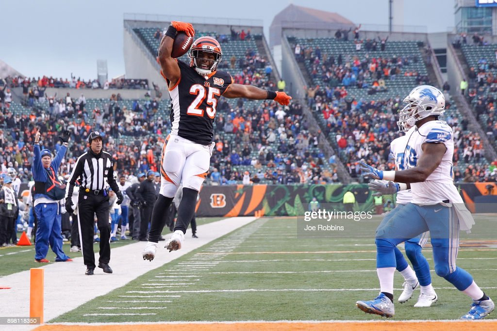 Giovani Bernard #25 of the Cincinnati Bengals jumps into the endzone for a touchdown against the Detroit Lions during the second half at Paul Brown Stadium on December 24, 2017 in Cincinnati, Ohio.