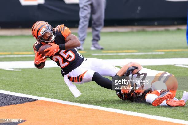 Giovani Bernard of the Cincinnati Bengals scores a touchdown in the game against the Cleveland Browns during the fourth quarter at Paul Brown Stadium...