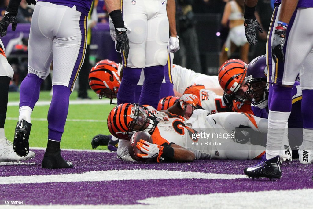 Giovani Bernard #25 of the Cincinnati Bengals with the ball in the end zone after scoring a touchdown in the fourth quarter of the game against the Minnesota Vikings on December 17, 2017 at U.S. Bank Stadium in Minneapolis, Minnesota.