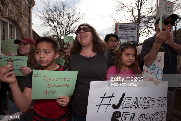 Giovani Carson his mother Jackie and sister Genevieve demonstrate outside the First Unitarian Church on February 18 2017 in Denver Colorado where...