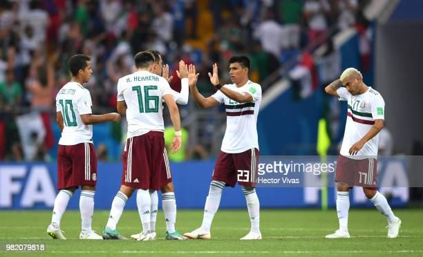 Giovani Dos Santos Hector Herrera Jesus Gallardo and Jesus Corona of Mexico celebrate after the 2018 FIFA World Cup Russia group F match between...