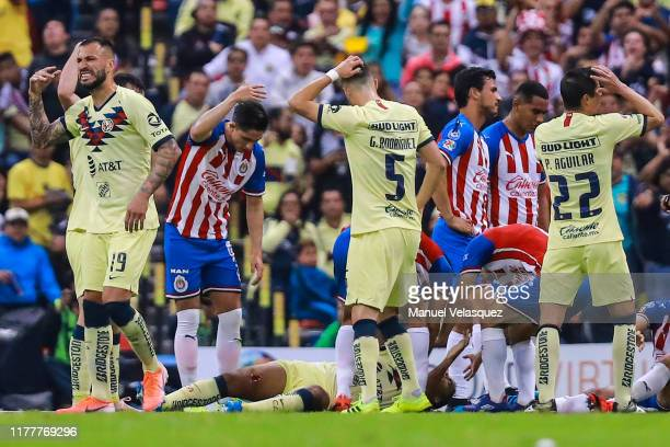 Giovani Dos Santos of America is injured after a foul during the 12th round match between America and Chivas as part of the Torneo Apertura 2019 Liga...