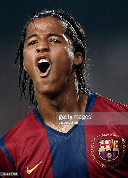 Giovani Dos Santos of Barcelona celebrates his goal during the Gamper Trophy match between Barcelona and Inter Milan at the Nou Camp Stadium on...