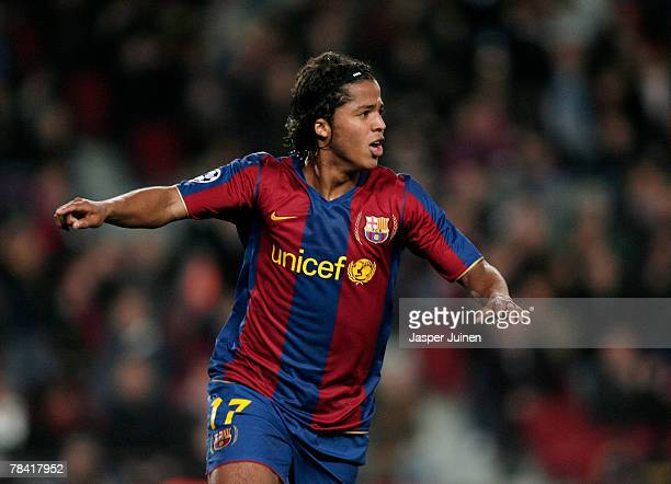 Giovani Dos Santos of Barcelona celebrates his goal during the UEFA Champions League Group E match between Barcelona and Stuttgart at the Camp Nou...
