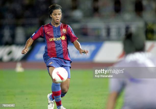 Giovani Dos Santos of Barcelona in action during the friendly match between Yokohama Marinos and Barcelona at Nissan Stadium on August 7 2007 in...