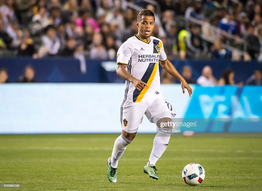 Giovani dos Santos #10 of Los Angeles Galaxy during Los Angeles Galaxy's MLS match against Portland Timbers at the StubHub Center on April 10, 2016 in Carson, California. The match ended in a 1-1 tie
