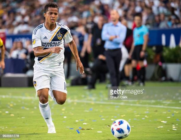 Giovani dos Santos of Los Angeles Galaxy during the Los Angeles Galaxy's MLS match against Columbus Crew at the StubHub Center on July 7 2018 in...
