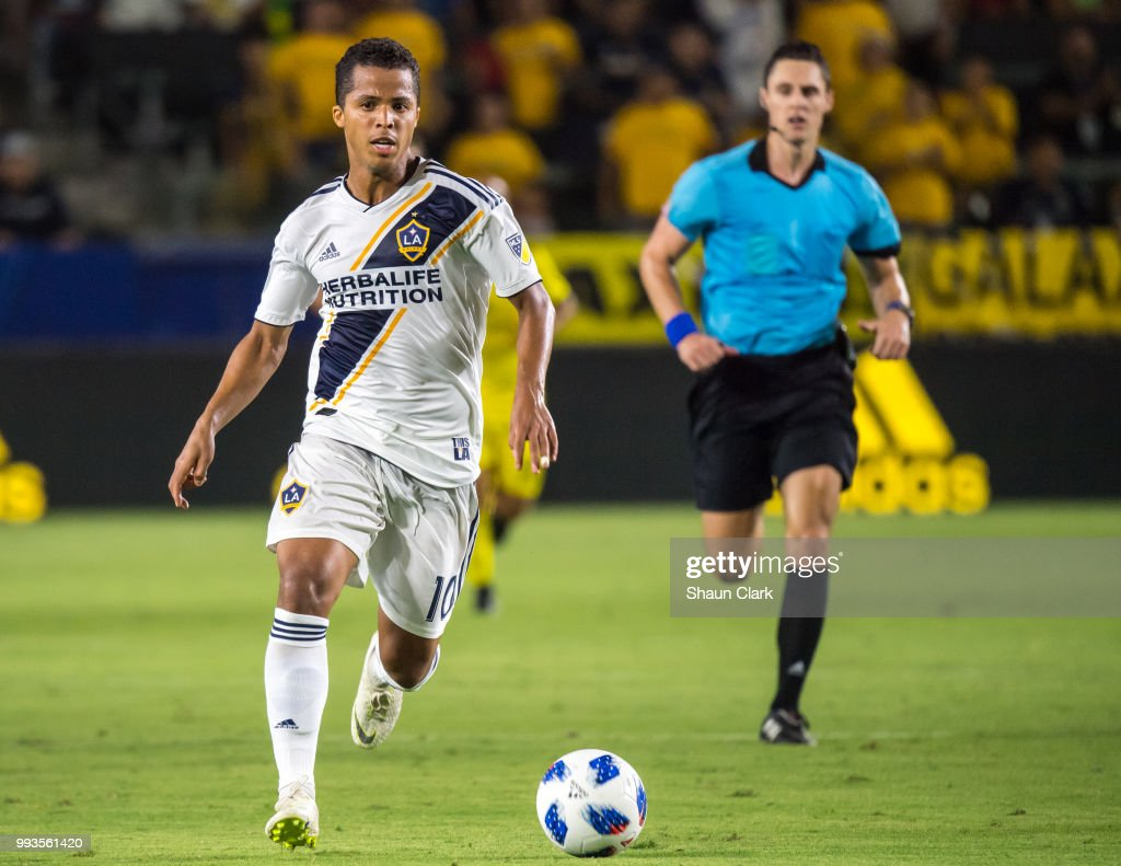 Giovani dos Santos #10 of Los Angeles Galaxy during the Los Angeles Galaxy's MLS match against Columbus Crew at the StubHub Center on July 7, 2018 in Carson, California. Los Angeles Galaxy won the match 4-0