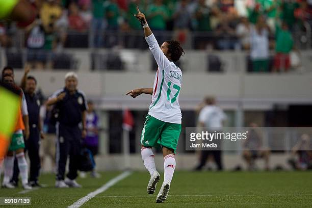 Giovani dos Santos of Mexico celebrates a goal against Haiti during their match part of the 2009 CONCACAF Gold Cup quaterfinals at the Dallas Stadium...