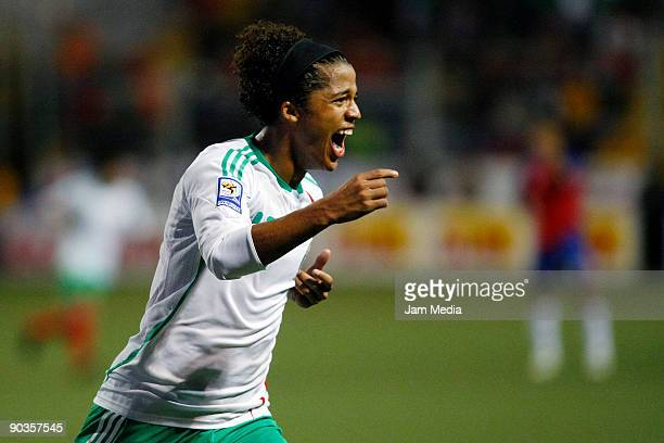 Giovani dos Santos of Mexico celebrates after scoring against Costa Rica in a FIFA 2010 World Cup qualifier at the Ricardo Saprissa Stadium on...