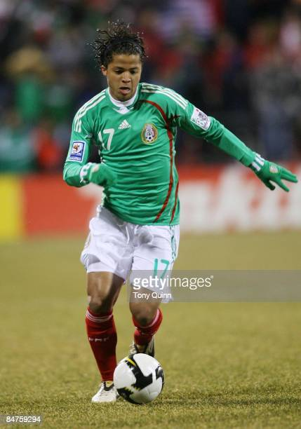 Giovani Dos Santos of Mexico during a FIFA 2010 World Cup qualifying match againt the USA in the CONCACAF region at Crew Stadium in Columbus Ohio on...