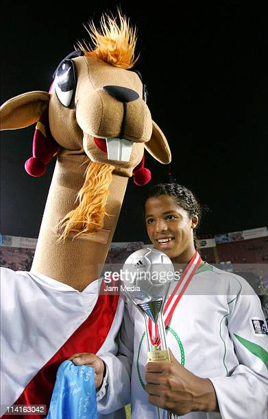 Giovani dos Santos of Mexico during the final game of the U17 World Cup at Nacional Stadium on October 02 2005 in Lima Peru