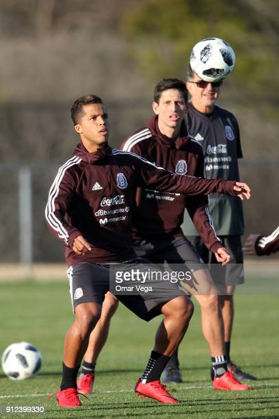 Giovani Dos Santos of Mexico looks the ball during the Mexico National Team training session at UTSA Park West Soccer Field on January 30 2017 in San...