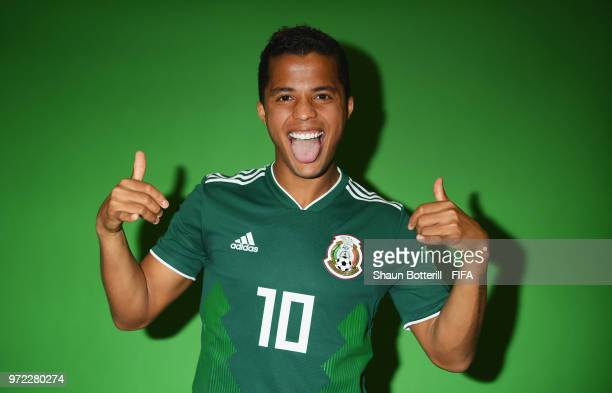 Giovani Dos Santos of Mexico poses for a portrait during the official FIFA World Cup 2018 portrait session at the team hotel on June 12 2018 in...