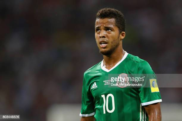 Giovani Dos Santos of Mexico reacts during the FIFA Confederations Cup Russia 2017 SemiFinal between Germany and Mexico at Fisht Olympic Stadium on...