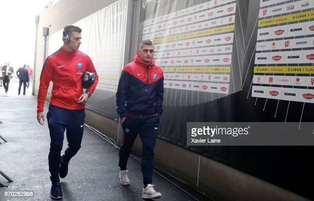 Giovani Lo Celso and Marco Verratti of Paris SaintGermain react before the Ligue 1 match between Angers SCO and Paris Saint Germain at Stade Raymond...