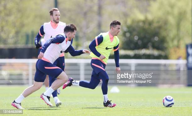 Giovani Lo Celso and Pierre-Emile Hojbjerg of Tottenham Hotspur during the Tottenham Hotspur training session at Tottenham Hotspur Training Centre on...