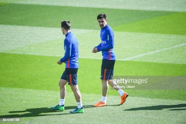 Giovani Lo Celso and Yuri Berchiche of PSG during the Paris Saint Germain Training Session at Camp des Loges on May 3 2018 in Paris France