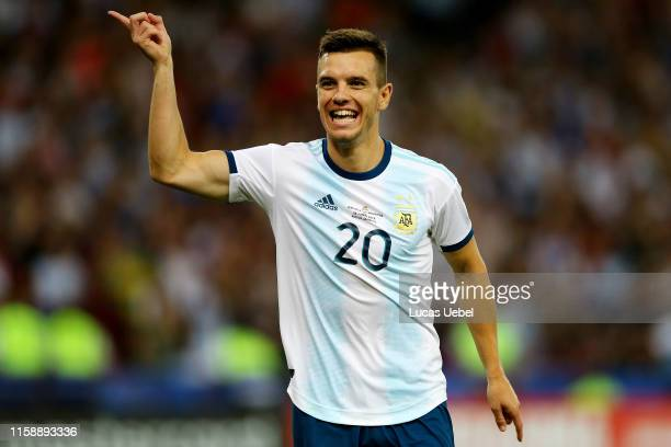 Giovani Lo Celso of Argentina celebrates after scoring the second goal of his team during the Copa America Brazil 2019 quarterfinal match between...