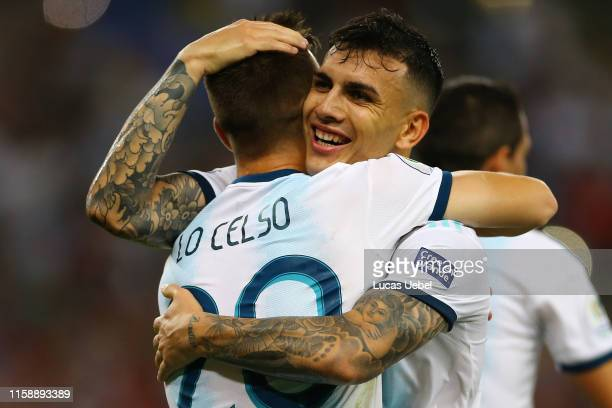 Giovani Lo Celso of Argentina celebrates after scoring the second goal of his team with teammate Leandro Paredes during the Copa America Brazil 2019...