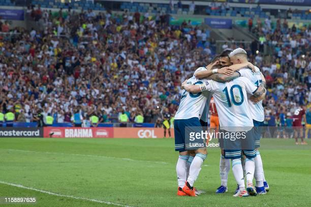 Giovani Lo Celso of Argentina celebrates with teammates after scoring the second goal of his team during the Copa America Brazil 2019 quarterfinal...