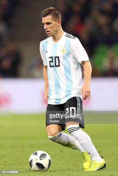 Giovani Lo Celso of Argentina drives the ball during an international friendly match between Argentina and Nigeria at Krasnodar Stadium on November...