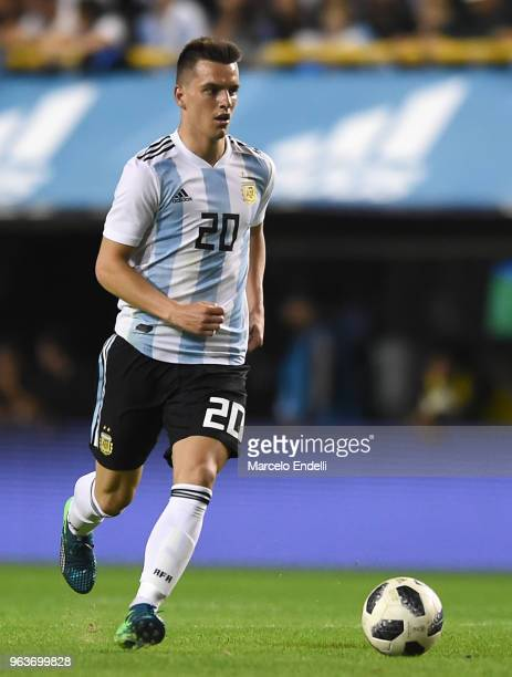 Giovani Lo Celso of Argentina drives the ball during an international friendly match between Argentina and Haiti at Alberto J Armando Stadium on May...