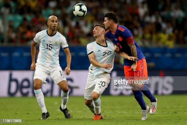Giovani Lo Celso of Argentina fights for the ball with James Rodriguez of Colombia during the Copa America Brazil 2019 group B match between...