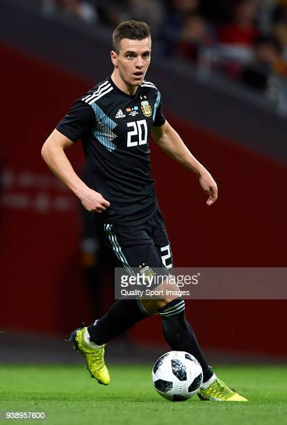 Giovani Lo Celso of Argentina in action during the international friendly match between Spain and Argentina at Wanda Metropolitano stadium on March...