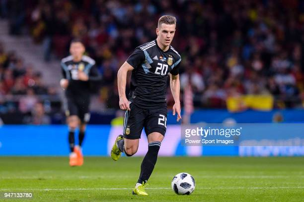 Giovani Lo Celso of Argentina in action during the International Friendly 2018 match between Spain and Argentina at Wanda Metropolitano Stadium on 27...