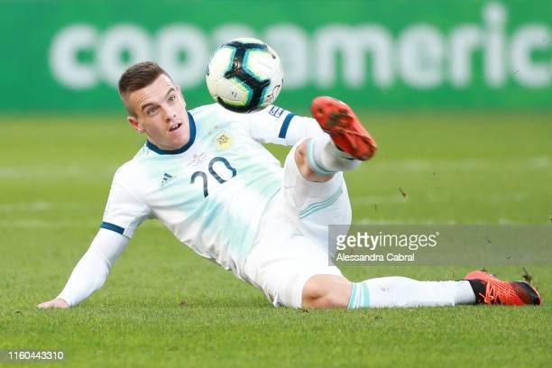 Giovani Lo Celso of Argentina kicks the ball from the ground during the Copa America Brazil 2019 Third Place match between Argentina and Chile at...