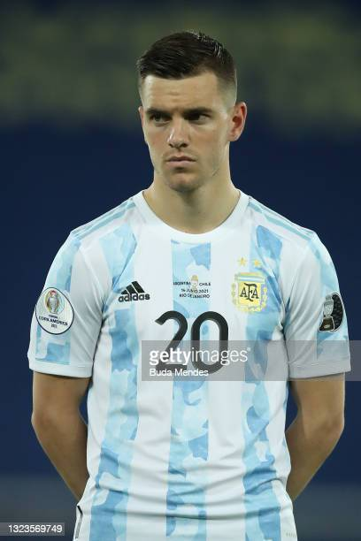 Giovani Lo Celso of Argentina looks on before a Group A match between Argentina and Chile at Estadio Olímpico Nilton Santos as part of Copa America...