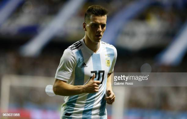 Giovani Lo Celso of Argentina looks on during an international friendly match between Argentina and Haiti at Alberto J Armando Stadium on May 29 2018...