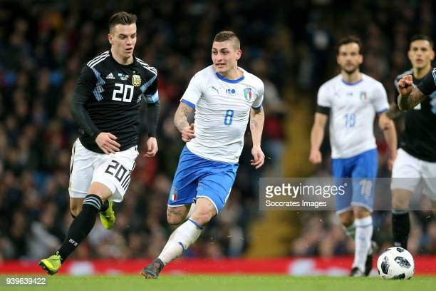 Giovani Lo Celso of Argentina, Marco Verratti of Italy during the International Friendly match between Italy v Argentina at the Etihad Stadium on...