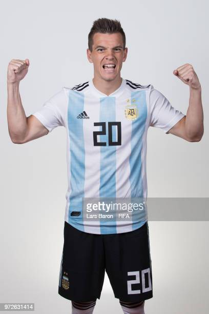 Giovani Lo Celso of Argentina poses for a portrait during the official FIFA World Cup 2018 portrait session on June 12 2018 in Moscow Russia
