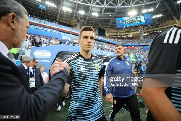 Giovani Lo Celso of Argentina walks on the pitch for warm up prior to the 2018 FIFA World Cup Russia group D match between Nigeria and Argentina at...