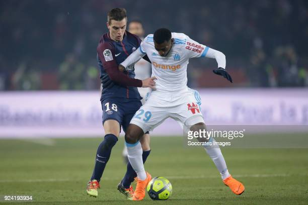 Giovani Lo Celso of Paris Saint Germain Andre Zambo Anguissa of Olympique Marseille during the French League 1 match between Paris Saint Germain v...