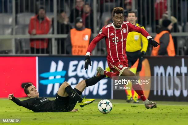 Giovani Lo Celso of Paris SaintGermain and Kingsley Coman of Bayern Muenchen battle for the ball during the UEFA Champions League group B match...