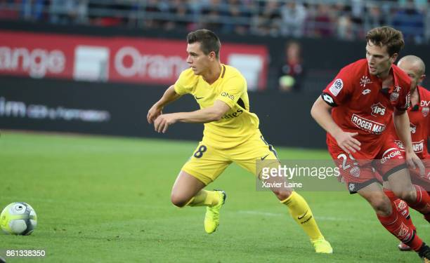 Giovani Lo Celso of Paris SaintGermain in action during the Ligue 1 match between Dijon FCO and Paris Saint Germain at Stade GastonGerard on October...
