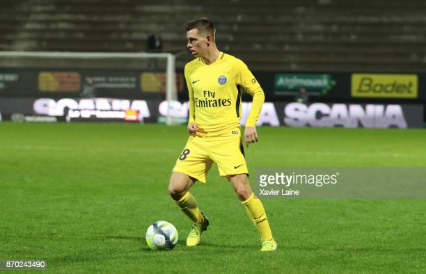 Giovani Lo Celso of Paris SaintGermain in action during the Ligue 1 match between Angers SCO and Paris Saint Germain at Stade Raymond Kopa on...