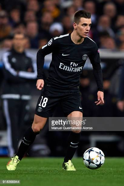 Giovani Lo Celso of Paris SaintGermain in action during the UEFA Champions League Round of 16 First Leg match between Real Madrid and Paris...